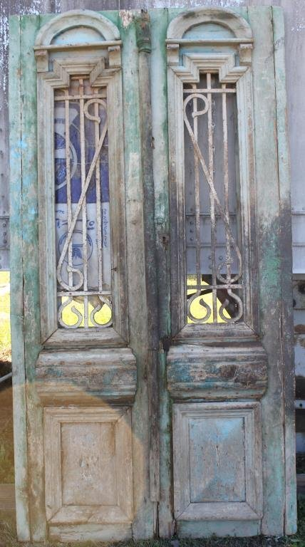 PAIR GREEN DOUBLE DOORS WITH RAISED PANELS,