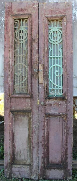 PAIR BROWN & GREEN DOUBLE DOORS