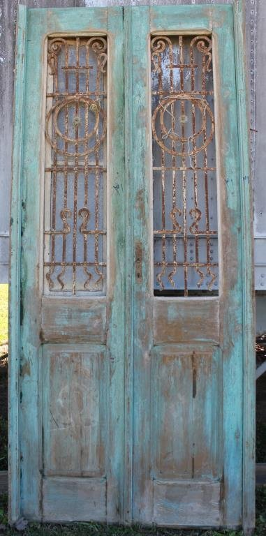 PAIR GREEN DOUBLE DOORS WITH IRON GRATES