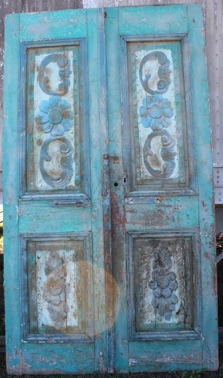 PAIR GREEN & BLUE DOUBLE DOORS