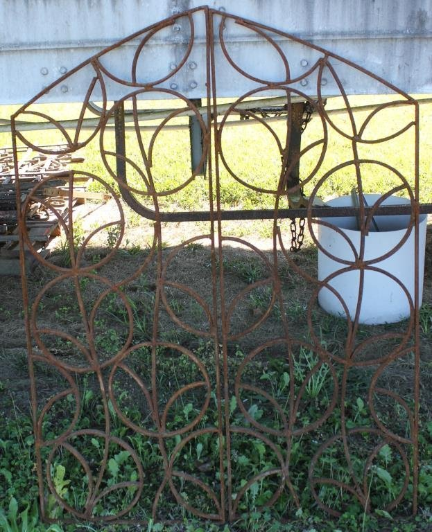 PAIR IRON GATES WITH ARCH TOP