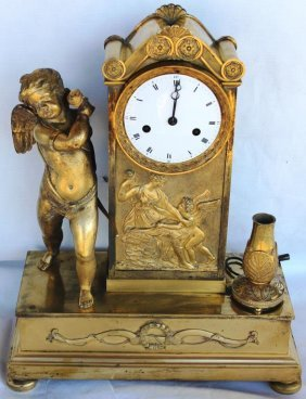 19th C. French Bronze Mantle Clock,