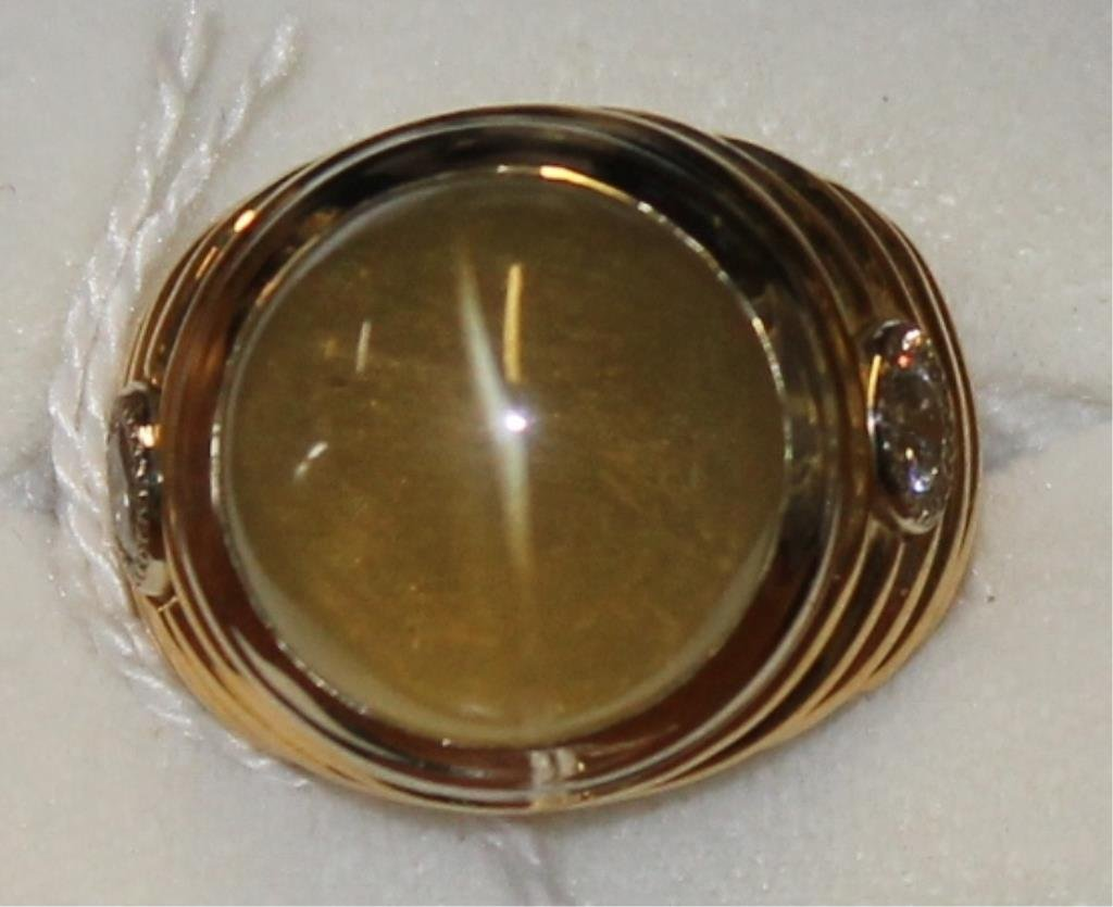 GENTS LARGE 14KT GOLD RING WITH 11 CT CHRYSOBERYL - 2