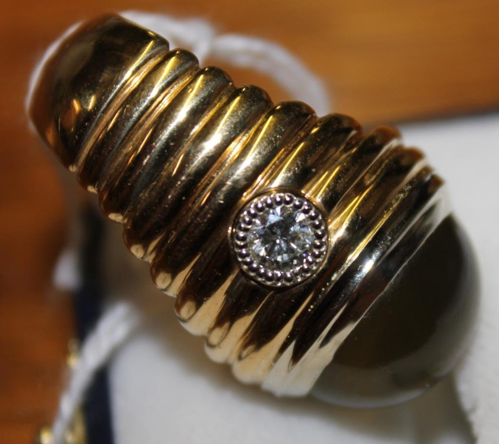 GENTS LARGE 14KT GOLD RING WITH 11 CT CHRYSOBERYL - 5