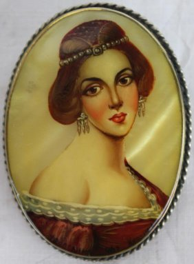 Victorian Hand Painted Abalone Portrait Brooch