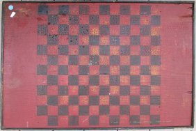 Large Painted Game Board, Red & Black,