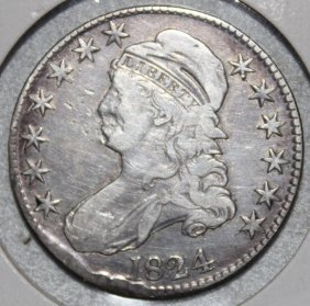 1824 Bust Liberty Head 50 Cent Piece,