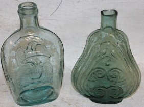 Two 19th C. Flasks, To Include Blown