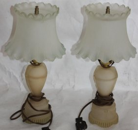 Pair Of Vintage Frosted Glass Boudoir Lamps