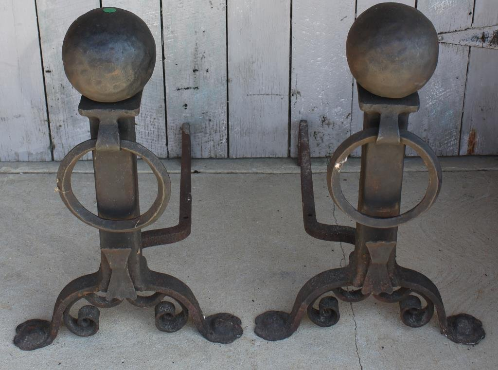 PAIR OF HEAVY IRON CANNON BALL TOP ANDIRONS,