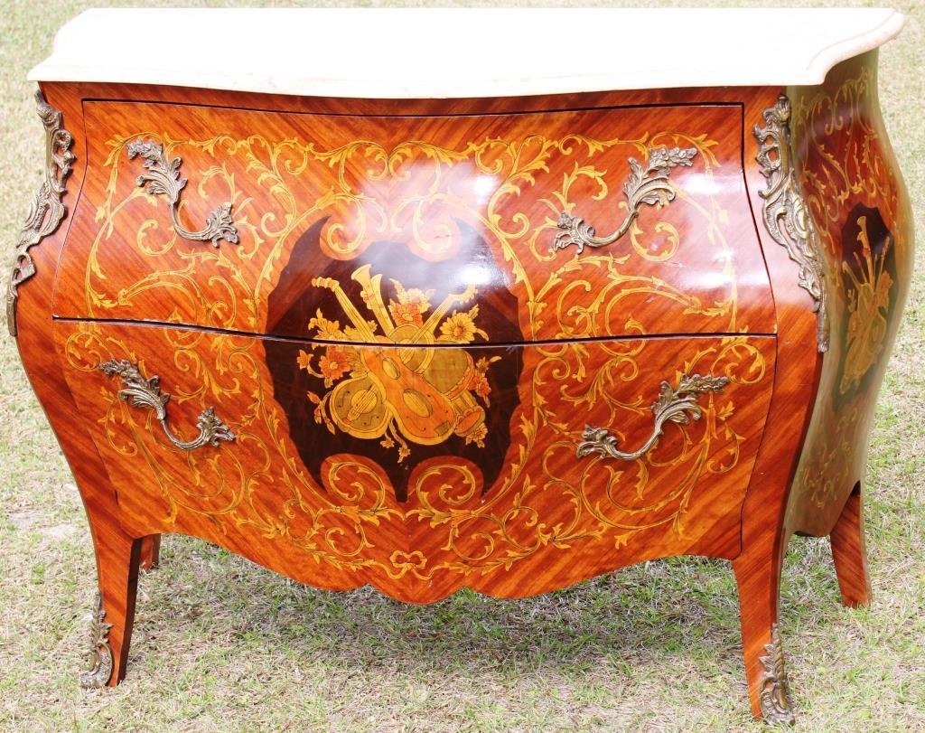20TH C. INLAID FRENCH STYLE BOMBE COMMODE