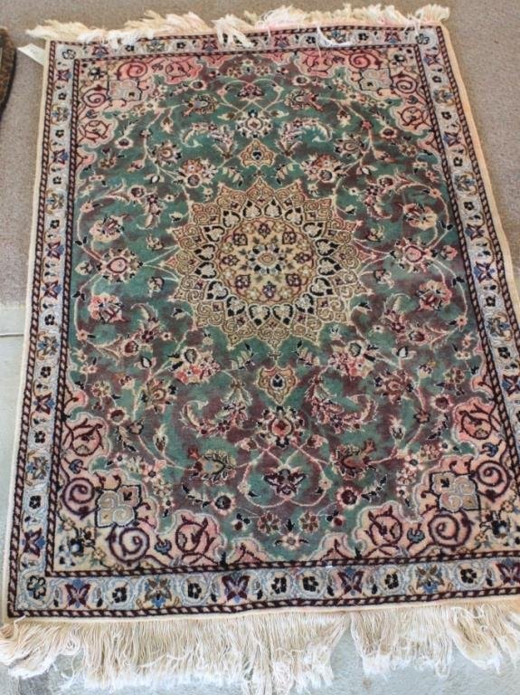 AS-IS ORIENTAL RUG, #656, NAIN, SHOWS COLOR RUN