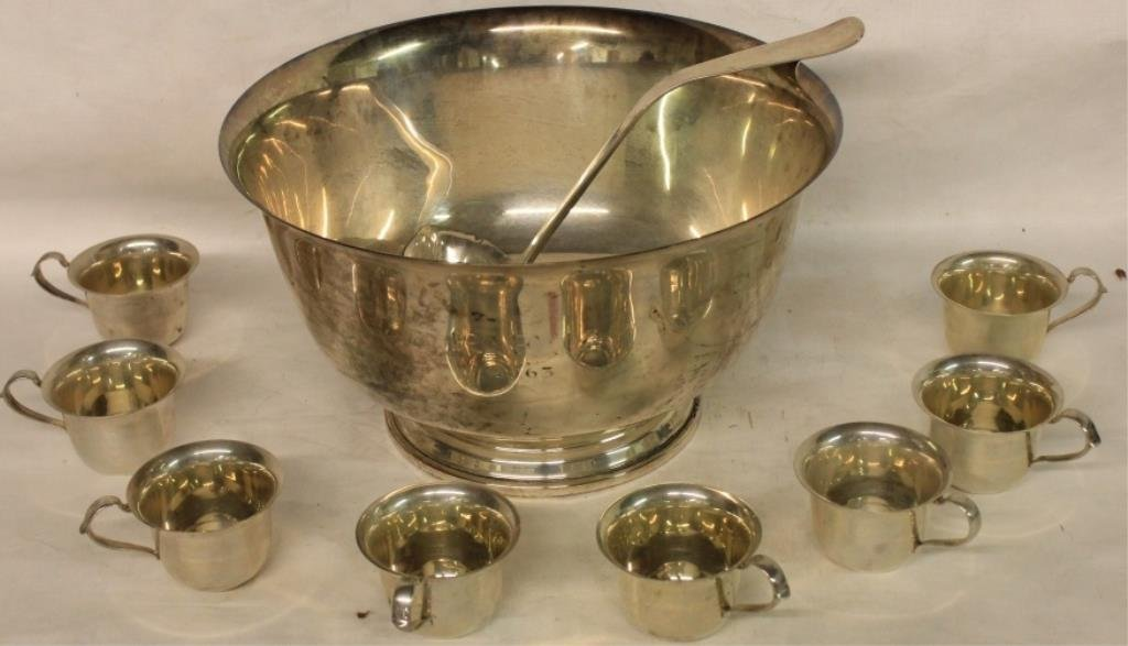 IMPORTANT 11 PC. STERLING SILVER PUNCH BOWL SET BY