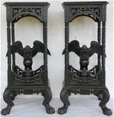 PAIR OF VICTORIAN EBONIZED STANDS WITH