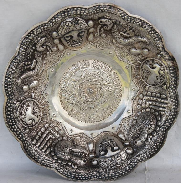 LARGE MEXICAN STERLING EMBOSSED BOWL