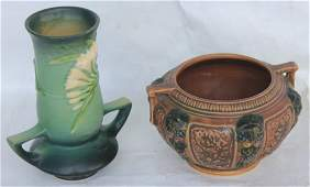 TWO PCS OF ROSEVILLE POTTERY TO INCLUDE