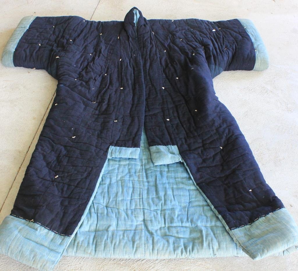 HEAVILY QUILTED JAPANESE SLEEPING ROBE 19TH C.