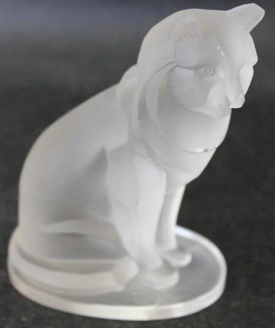MARKED R. LALIQUE FROSTED GLASS BOBCAT