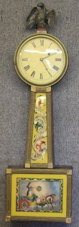 EARLY 19TH C WEIGHT DRIVEN BANJO CLOCK