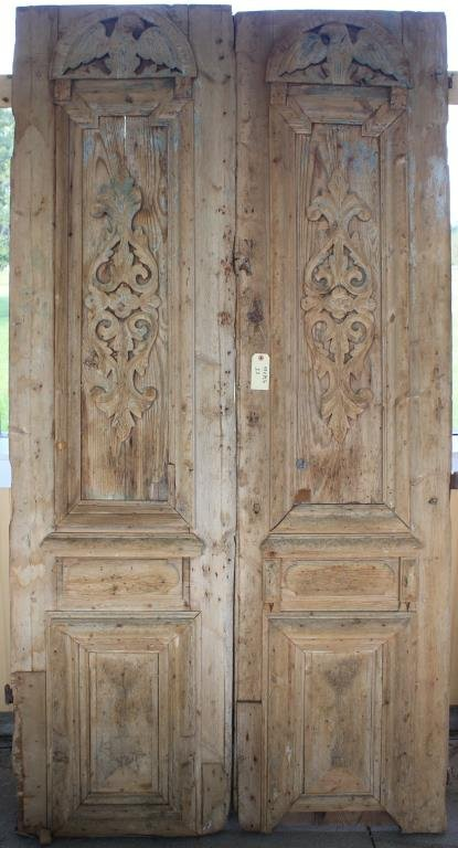 PR 19TH C. CARVED EGYPTIAN DOORS W/ EAGLE &