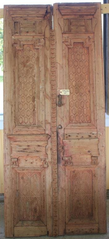 PR 19TH C. CARVED EGYPTIAN DOORS, OLD RED STAIN