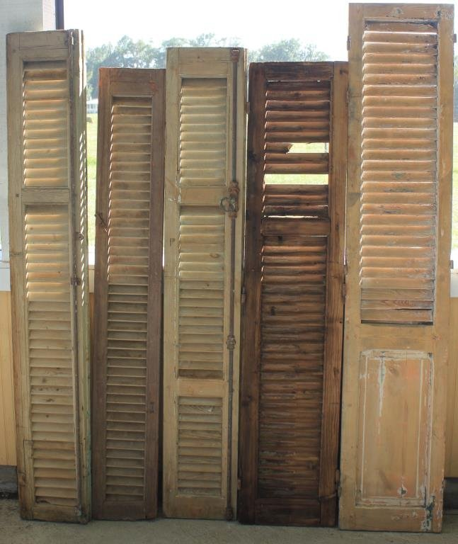 5 MISC. 19TH WOODEN SHUTTERS
