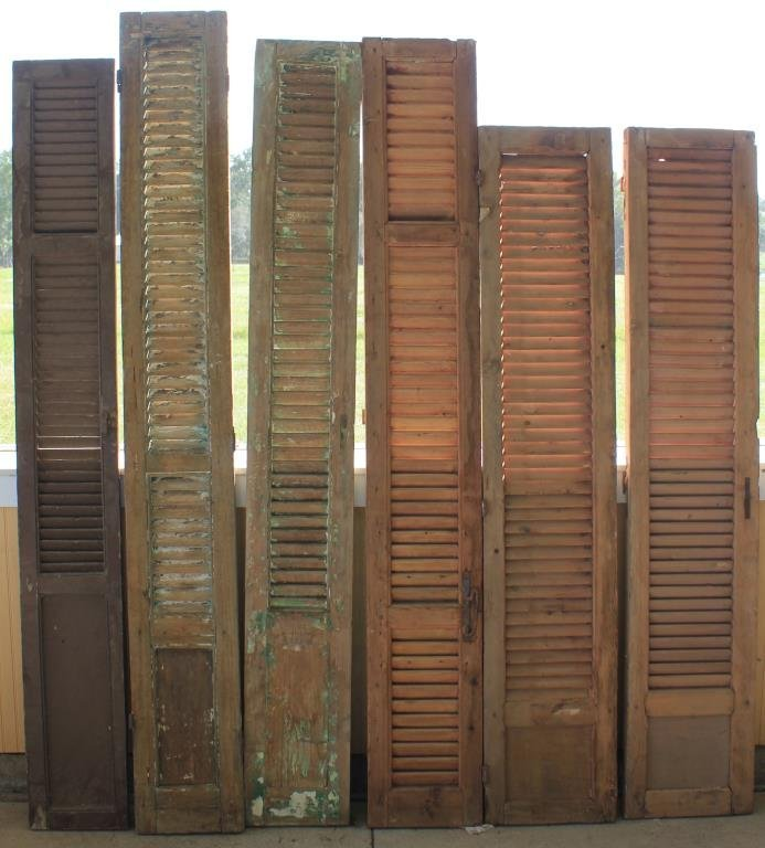 6 MISC. 19TH C. WOODEN SHUTTERS
