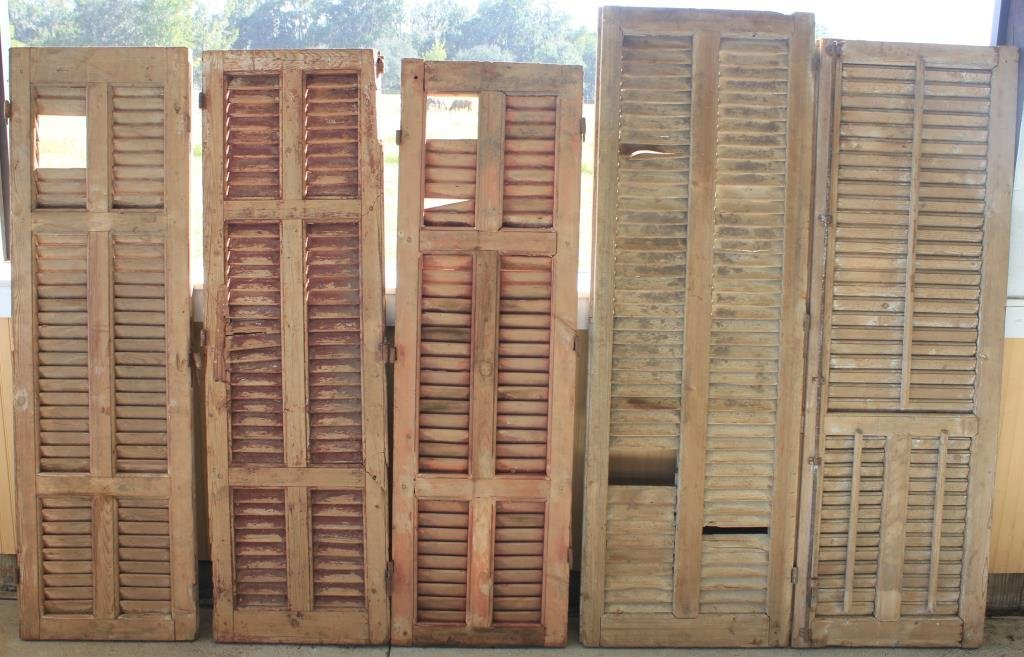 5 MISC 19TH C. WOODEN SHUTTERS