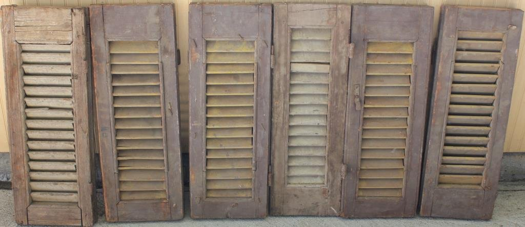 6 SM 19TH C. WOODEN SHUTTERS