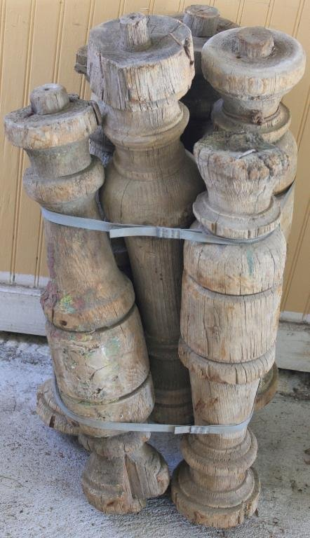 "6 24"" 19TH C. TURNED POSTS"