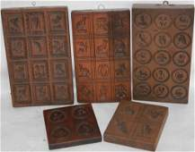 5 19TH C CARVED WOODEN COOKIE BOARDS
