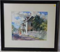 FRAMED AND GLAZED WATERCOLOR OF ST AUGUSTINE