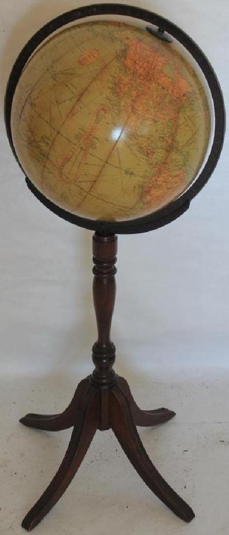 """12"""" LIBRARY GLOBE BY REPLOGLE, ON STAND, CHIP TO"""