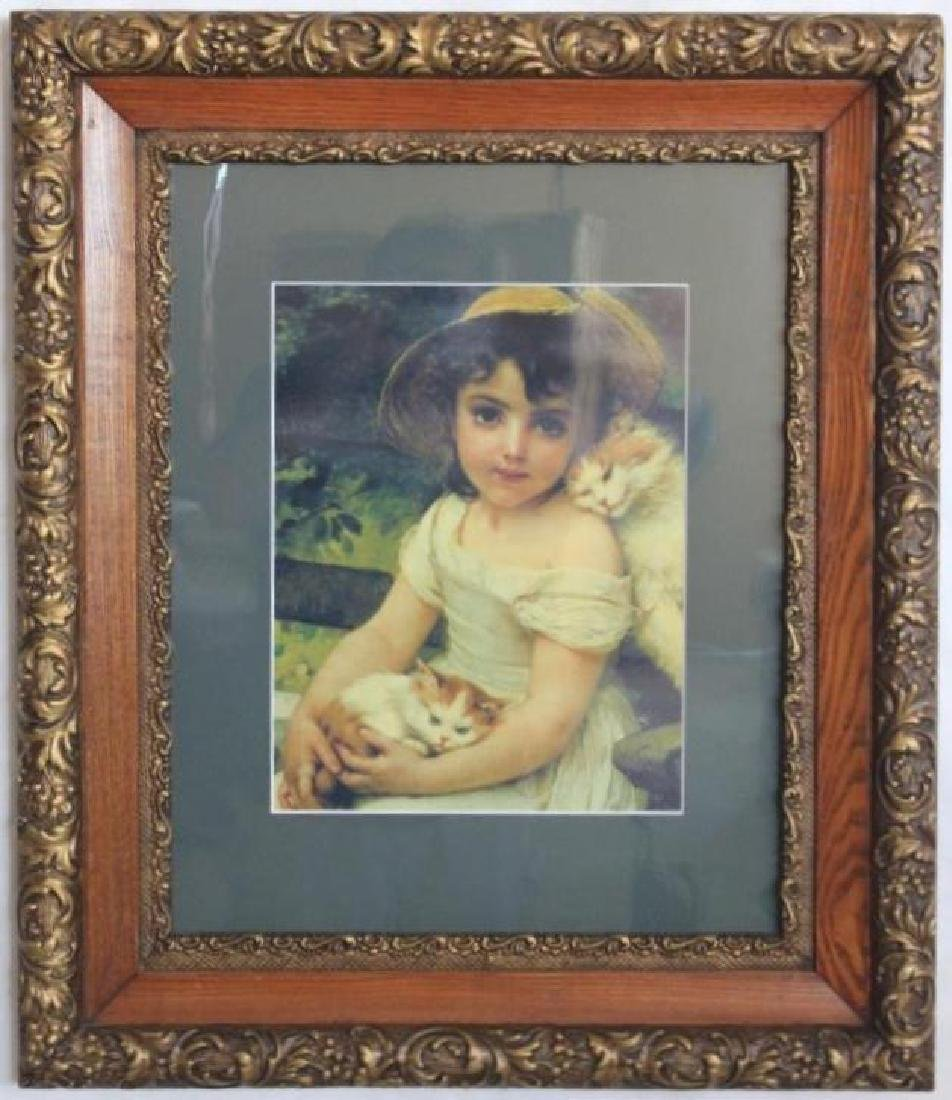VICTORIAN FRAME WITH PHOTO PRINT, OVERALL SIZE