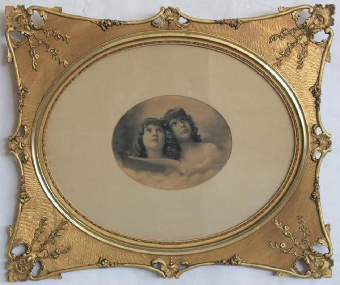 ORNATE VICTORIAN GOLD GILT FRAME WITH PHOTO, 21