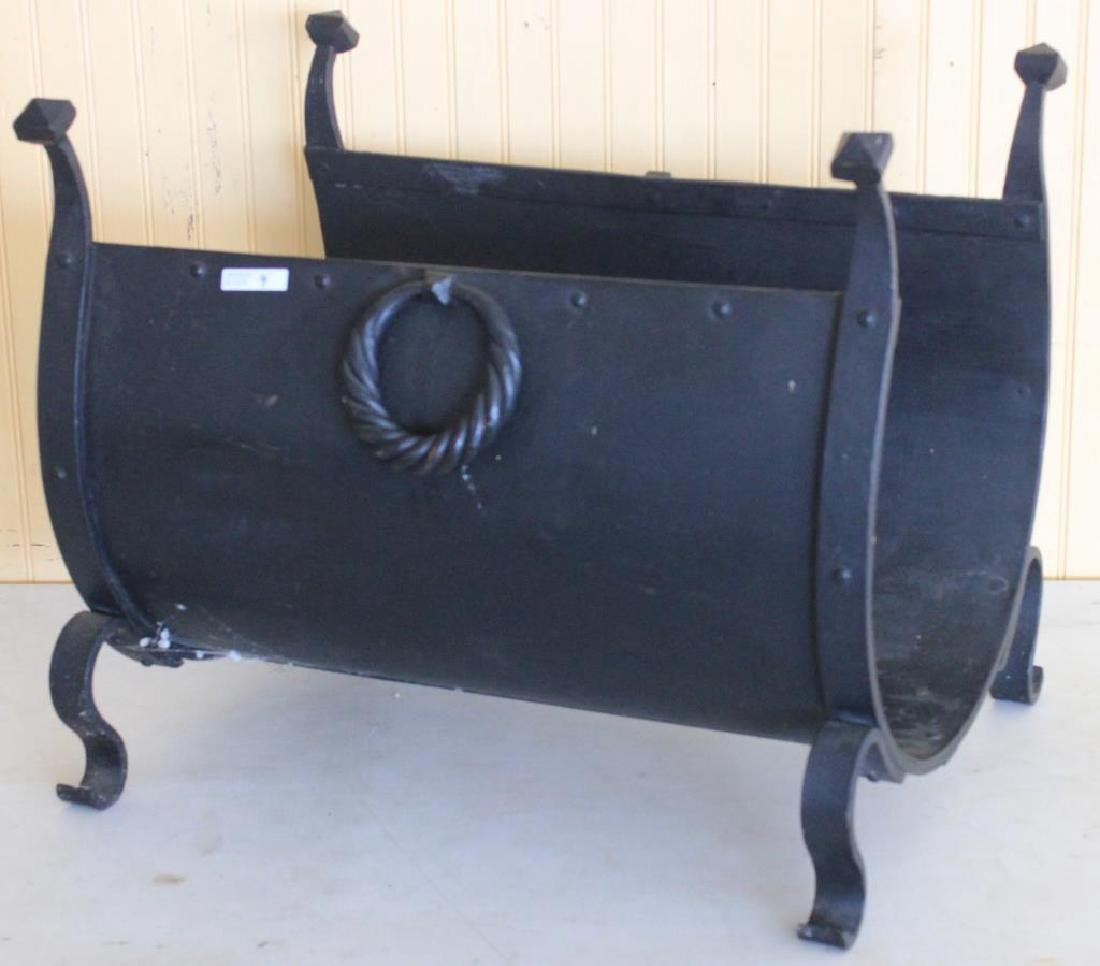 LATE 19TH C. LOG HOLDER, WROUGHT IRON WITH TWIST