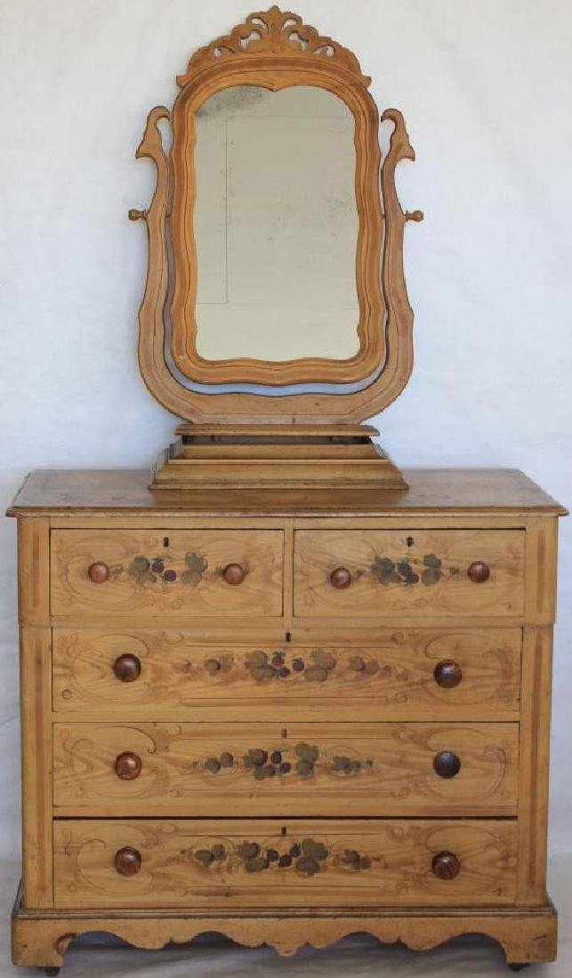 19TH C. COTTAGE PINE CHEST WITH MIRROR, SLIGHT