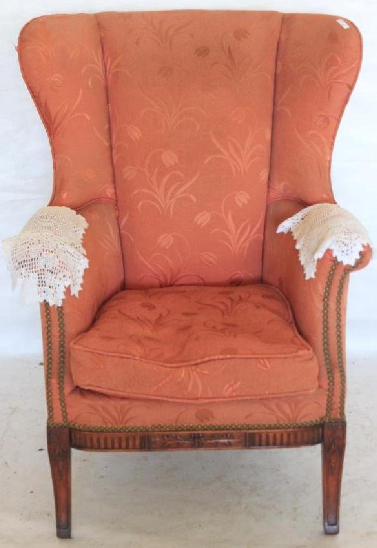 """HEPPLEWHITE STYLE WING CHAIR, C. 1940, 40 1/2"""" H,"""