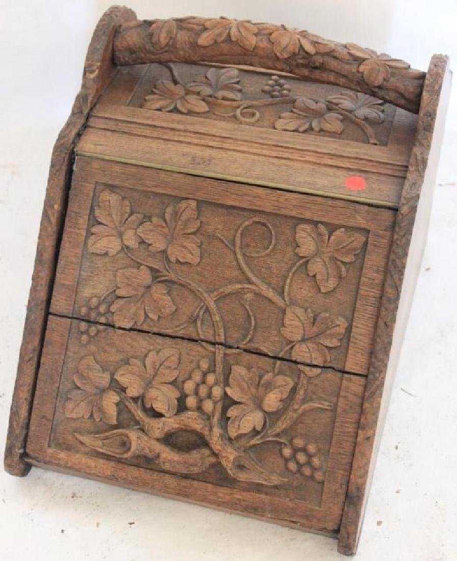 LATE 19TH C. CARVED OAK COAL HOD, LID SHOWS