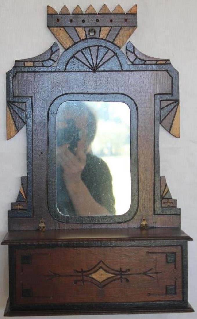VICTORIAN WALNUT MIRRORED WALL BOX, SILT &