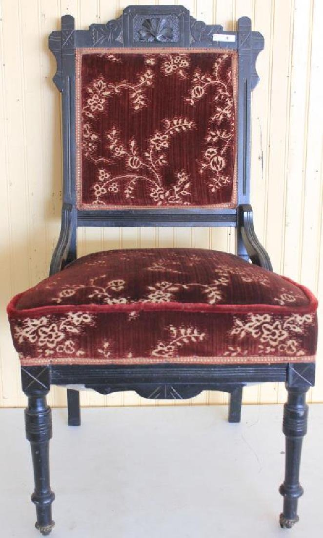 VICTORIAN EBONIZED SIDE CHAIR, CLEAN UPHOLSTERY,