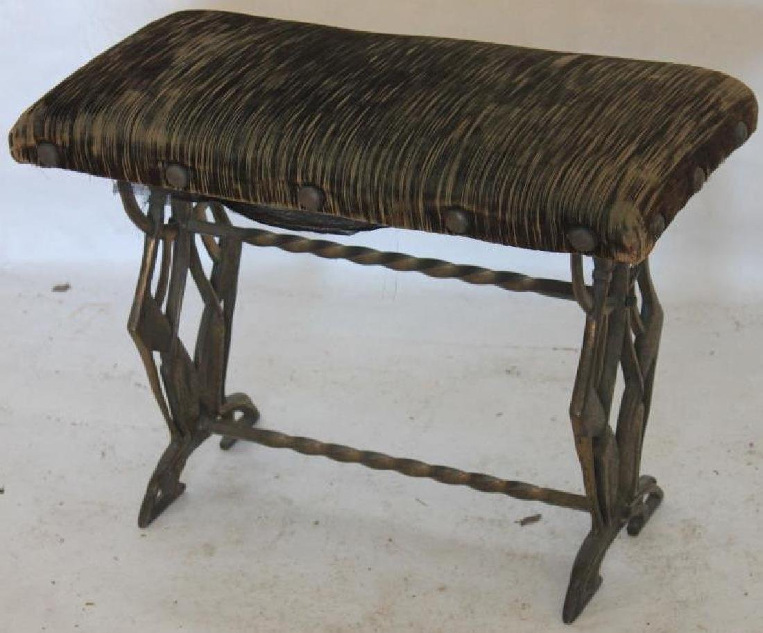 1920s CAST IRON STOOL WITH CAST DOG SIDES,