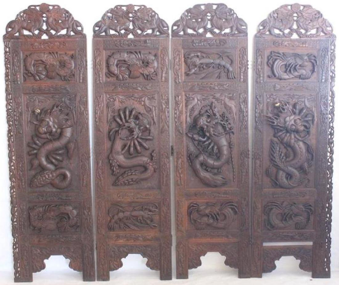 ORNATE CARVED 4 FOLD SCREEN WITH RAISED DRAGON