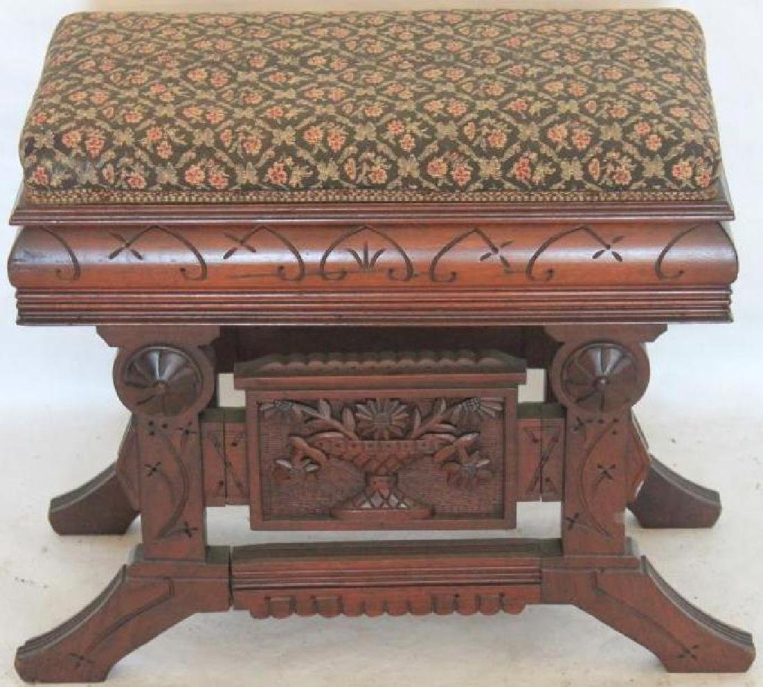 ORNATE CARVED WALNUT LIFT TOP ORGAN STOOL WITH
