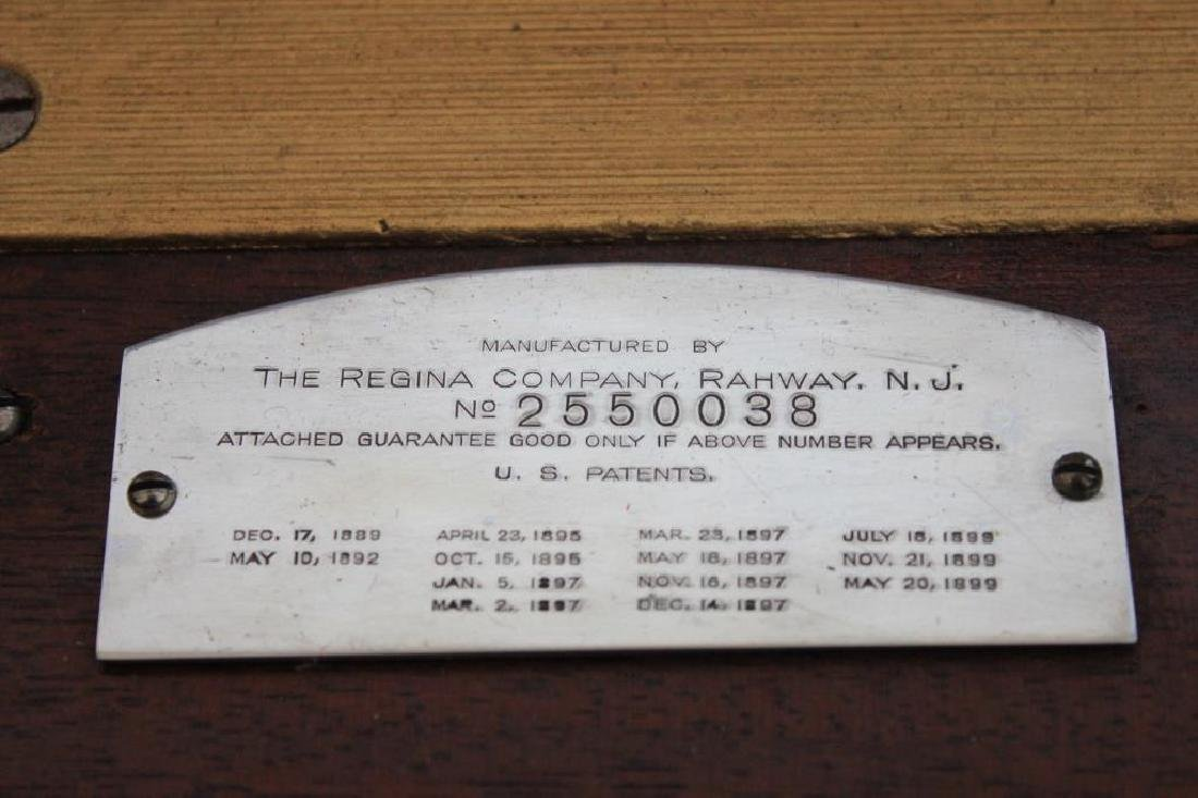 LATE 19TH. C. REGINA PHONE W/ 13 DISCS, MAHOGANY - 5