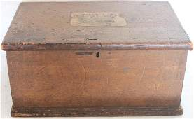 LATE 18TH C. DOVETAILED PINE, FLIP-TOP BOX W/ TILL