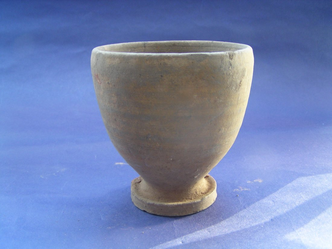 A Rare Gray Pottery of Stem Cup. Warring States period.