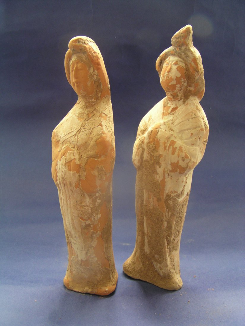 A Pair of Printed Pottery Ladies. Tang Dynasty.