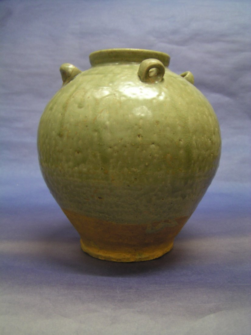 A Rare Green-glazed Pottery of a Jar. Eastern-Jin D.