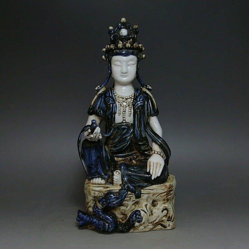 A Old Blue Glaze Figure